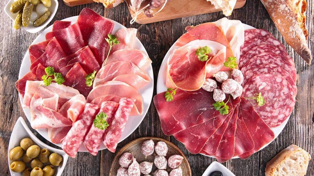 processed meat there are different processed deli meats but there are also non processed meats.